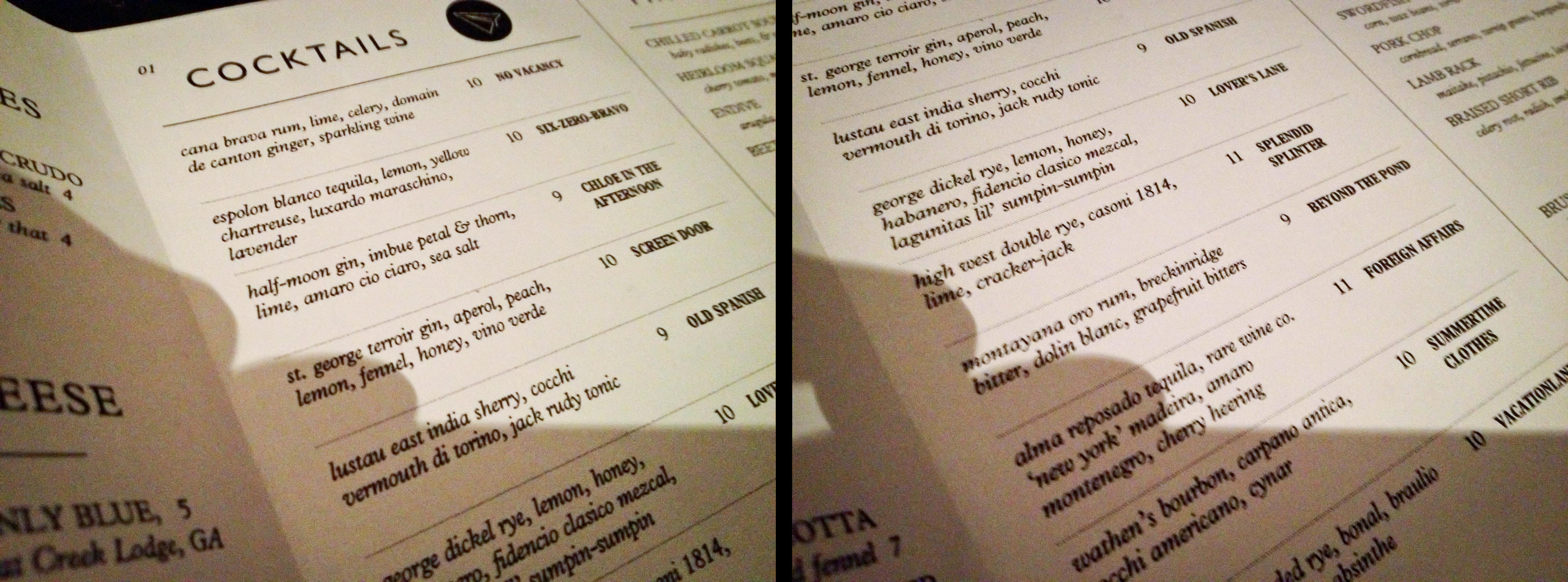 Order a paper plane cocktail menu